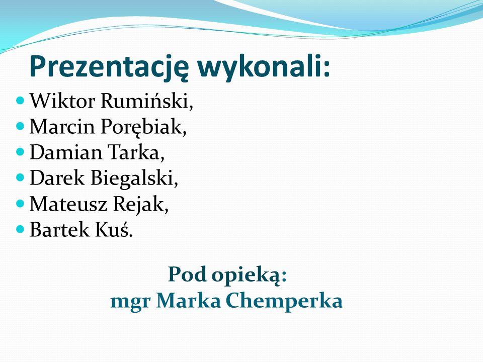 Prezentację wykonali: Wiktor Rumiński, Marcin Porębiak, Damian Tarka, Darek Biegalski, Mateusz Rejak, Bartek Kuś. Pod opieką: mgr Marka Chemperka