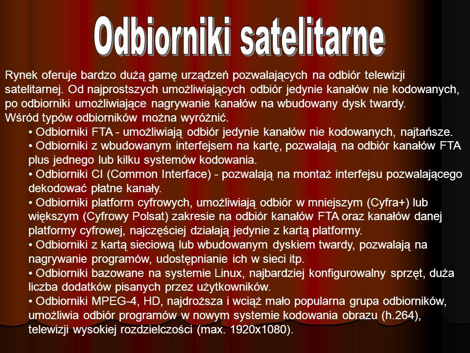 Najbardziej popularne w Polsce pozycje satelitarne to 13°E Hot Bird (Cyfra+, Polsat Cyfrowy, oraz około 15 polskojęzycznych kanałów FTA) oraz 19,2°E A