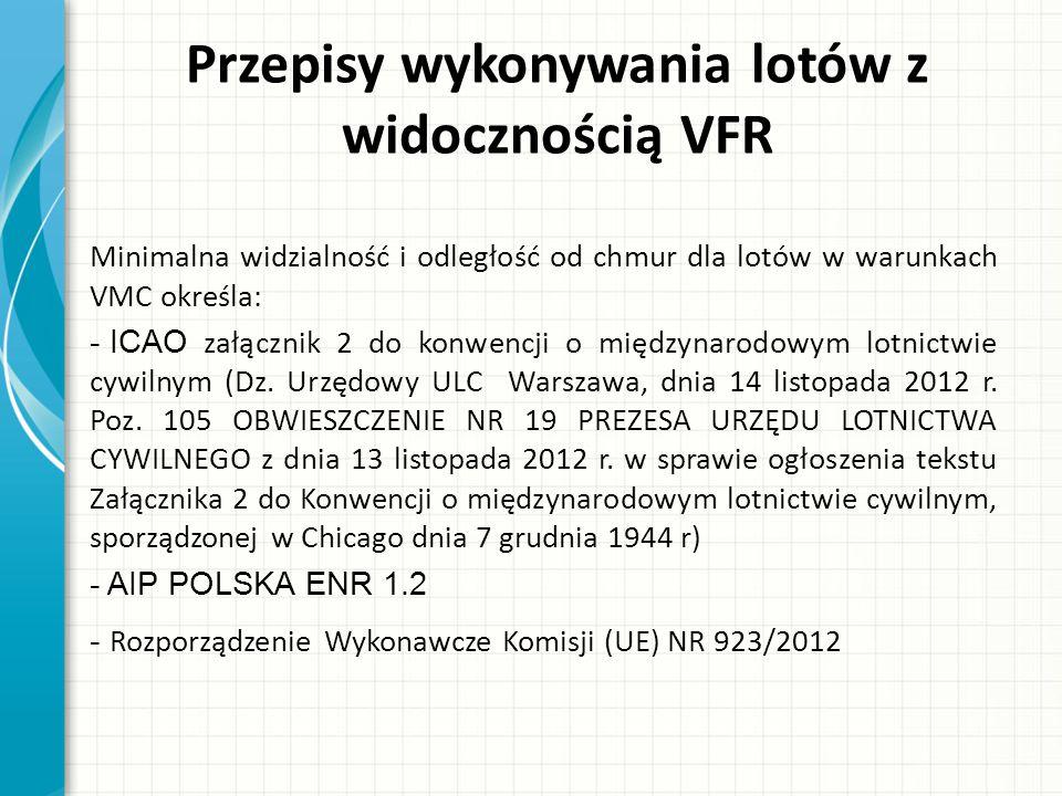 Przepisy wykonywania lotów z widocznością VFR Pkt.3.9 załącznika 2 jak i AIP ENR 1.2 - określają minimalne widzialności i odległości od chmur dla warunków lotów VMC.
