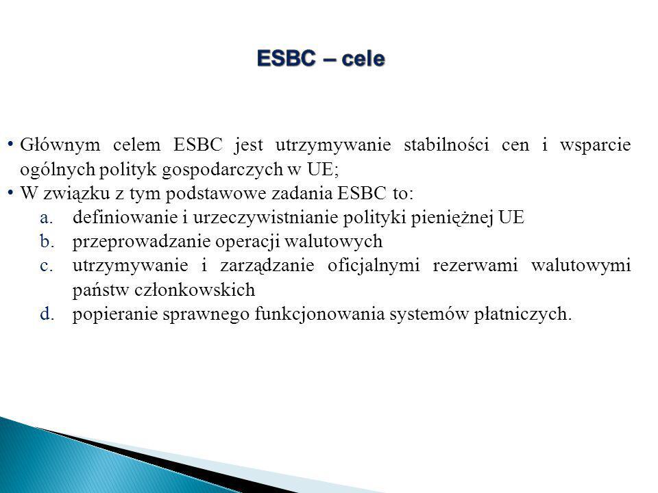 Głównym celem ESBC jest utrzymywanie stabilności cen i wsparcie ogólnych polityk gospodarczych w UE; W związku z tym podstawowe zadania ESBC to: a.definiowanie i urzeczywistnianie polityki pieniężnej UE b.przeprowadzanie operacji walutowych c.utrzymywanie i zarządzanie oficjalnymi rezerwami walutowymi państw członkowskich d.popieranie sprawnego funkcjonowania systemów płatniczych.