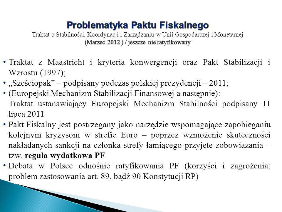"""Traktat z Maastricht i kryteria konwergencji oraz Pakt Stabilizacji i Wzrostu (1997); """"Sześciopak – podpisany podczas polskiej prezydencji – 2011; (Europejski Mechanizm Stabilizacji Finansowej a następnie): Traktat ustanawiający Europejski Mechanizm Stabilności podpisany 11 lipca 2011 Pakt Fiskalny jest postrzegany jako narzędzie wspomagające zapobieganiu kolejnym kryzysom w strefie Euro – poprzez wzmożenie skuteczności nakładanych sankcji na członka strefy łamiącego przyjęte zobowiązania – tzw."""