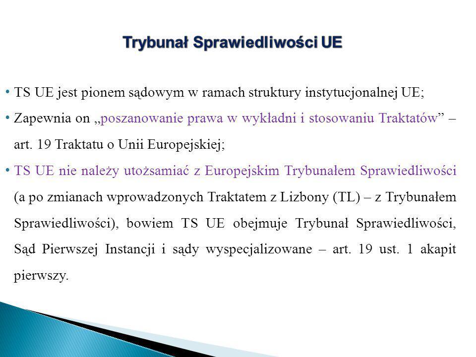 """TS UE jest pionem sądowym w ramach struktury instytucjonalnej UE; Zapewnia on """"poszanowanie prawa w wykładni i stosowaniu Traktatów – art."""