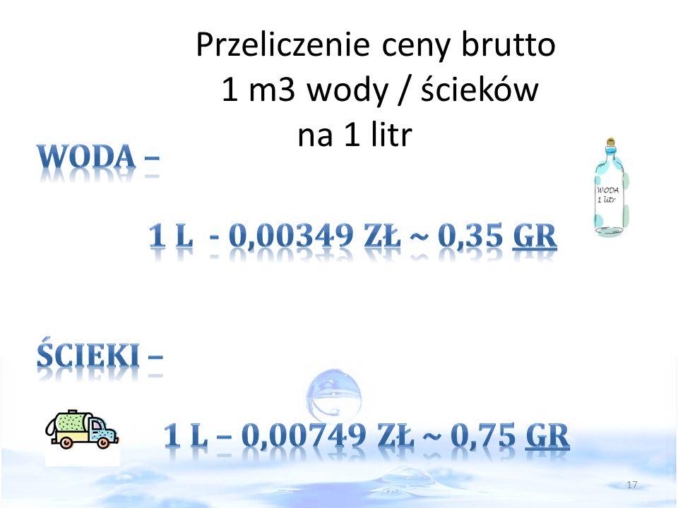 Przeliczenie ceny brutto 1 m3 wody / ścieków na 1 litr 17