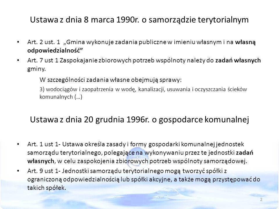 """Ustawa z dnia 8 marca 1990r. o samorządzie terytorialnym Art. 2 ust. 1 """"Gmina wykonuje zadania publiczne w imieniu własnym i na własną odpowiedzialnoś"""