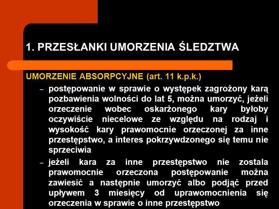 1.PRZESŁANKI UMORZENIA ŚLEDZTWA UMORZENIE ABSORPCYJNE (art.