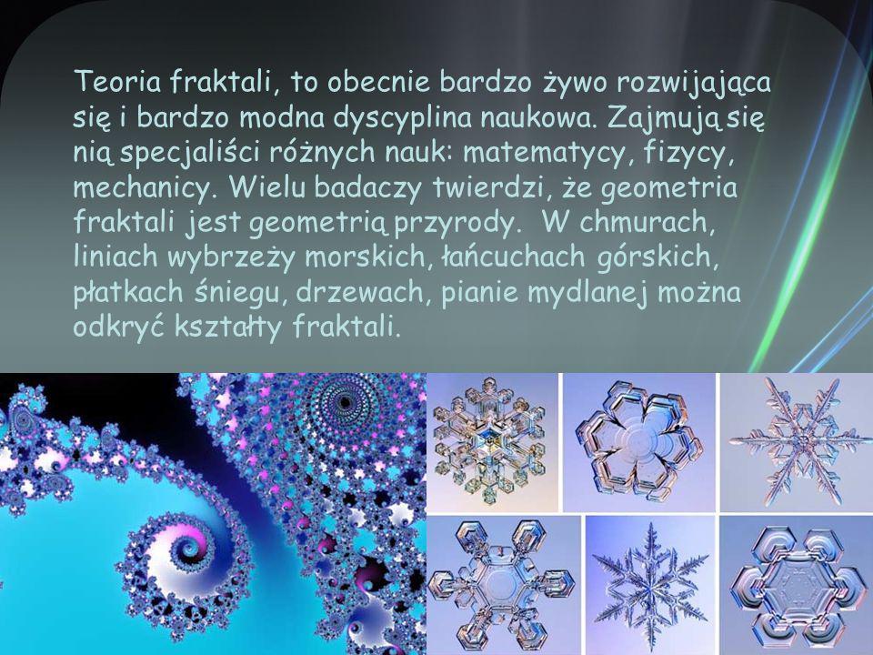 Teoria fraktali, to obecnie bardzo żywo rozwijająca się i bardzo modna dyscyplina naukowa.