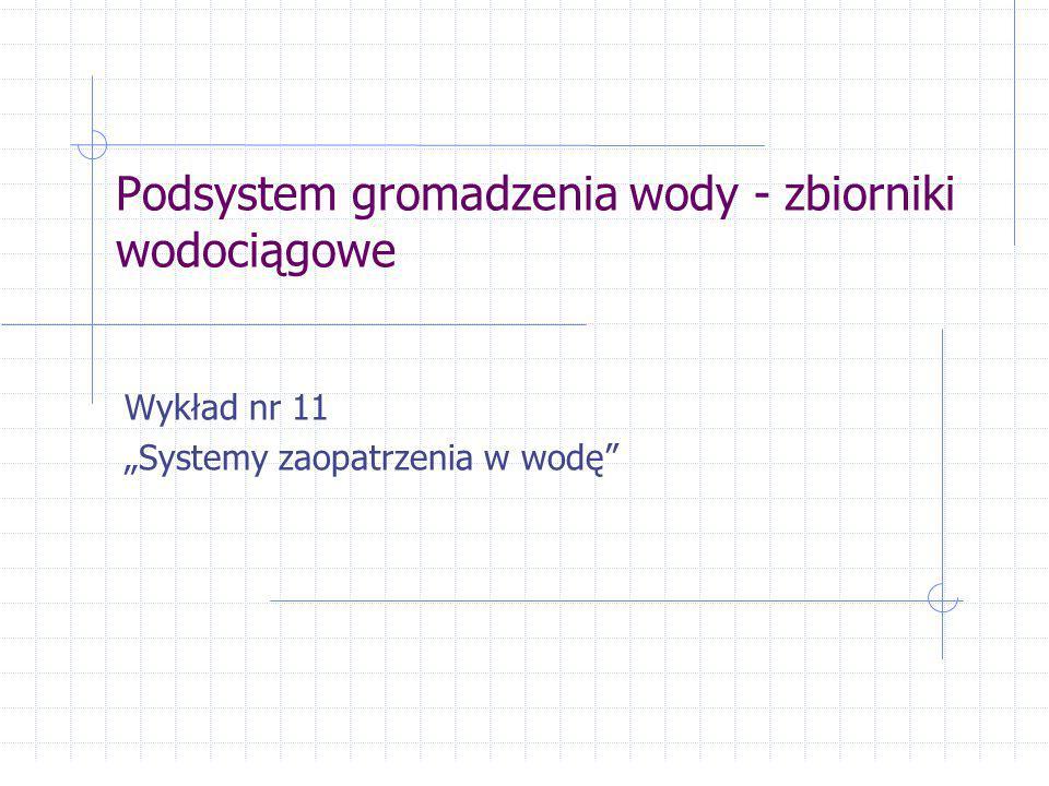 Komora zasuw powinna zawierać rurociągi z uzbrojeniem umożliwiające: cyrkulację i wymianę wody w zbiorniku wyłączanie poszczególnych komór zbiornika opróżnianie poszczególnych komór, itp.