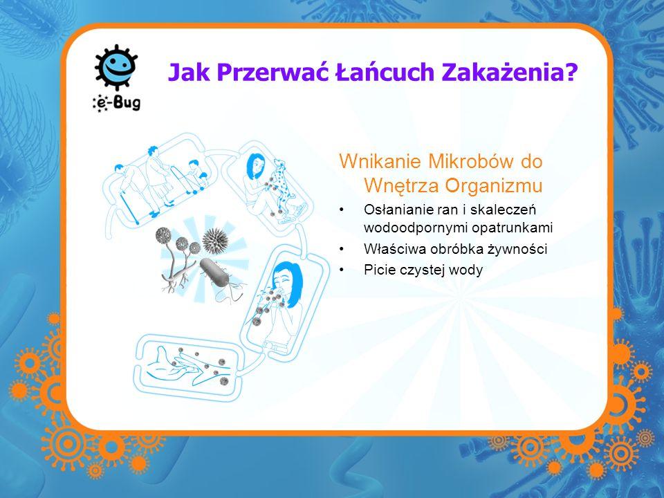 Jak Przerwać Łańcuch Zakażenia? Wnikanie Mikrobów do Wnętrza Organizmu Osłanianie ran i skaleczeń wodoodpornymi opatrunkami Właściwa obróbka żywności