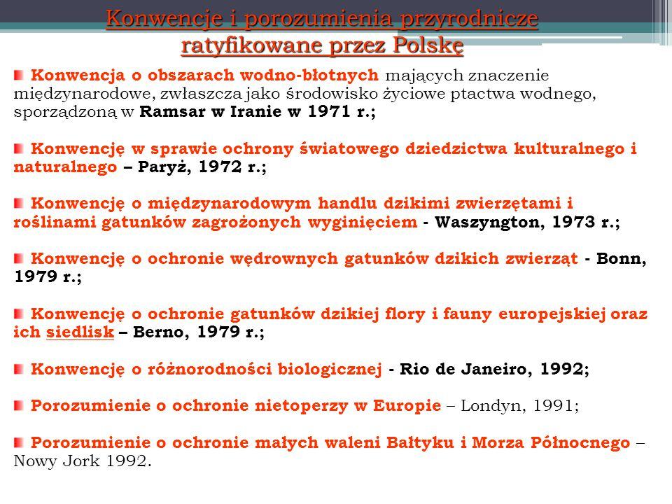Konwencje i porozumienia przyrodnicze ratyfikowane przez Polskę Konwencja o obszarach wodno-błotnych mających znaczenie międzynarodowe, zwłaszcza jako środowisko życiowe ptactwa wodnego, sporządzoną w Ramsar w Iranie w 1971 r.; Konwencję w sprawie ochrony światowego dziedzictwa kulturalnego i naturalnego – Paryż, 1972 r.; Konwencję o międzynarodowym handlu dzikimi zwierzętami i roślinami gatunków zagrożonych wyginięciem - Waszyngton, 1973 r.; Konwencję o ochronie wędrownych gatunków dzikich zwierząt - Bonn, 1979 r.; Konwencję o ochronie gatunków dzikiej flory i fauny europejskiej oraz ich siedlisk – Berno, 1979 r.; Konwencję o różnorodności biologicznej - Rio de Janeiro, 1992; Porozumienie o ochronie nietoperzy w Europie – Londyn, 1991; Porozumienie o ochronie małych waleni Bałtyku i Morza Północnego – Nowy Jork 1992.