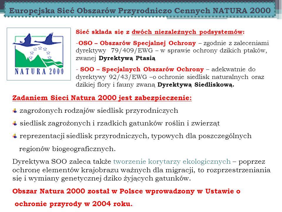 Europejska Sieć Obszarów Przyrodniczo Cennych NATURA 2000 Sieć składa się z dwóch niezależnych podsystemów: - OSO – Obszarów Specjalnej Ochrony – zgodnie z zaleceniami dyrektywy 79/409/EWG – w sprawie ochrony dzikich ptaków, zwanej Dyrektywą Ptasią - SOO – Specjalnych Obszarów Ochrony – adekwatnie do dyrektywy 92/43/EWG –o ochronie siedlisk naturalnych oraz dzikiej flory i fauny zwaną Dyrektywą Siedliskową.