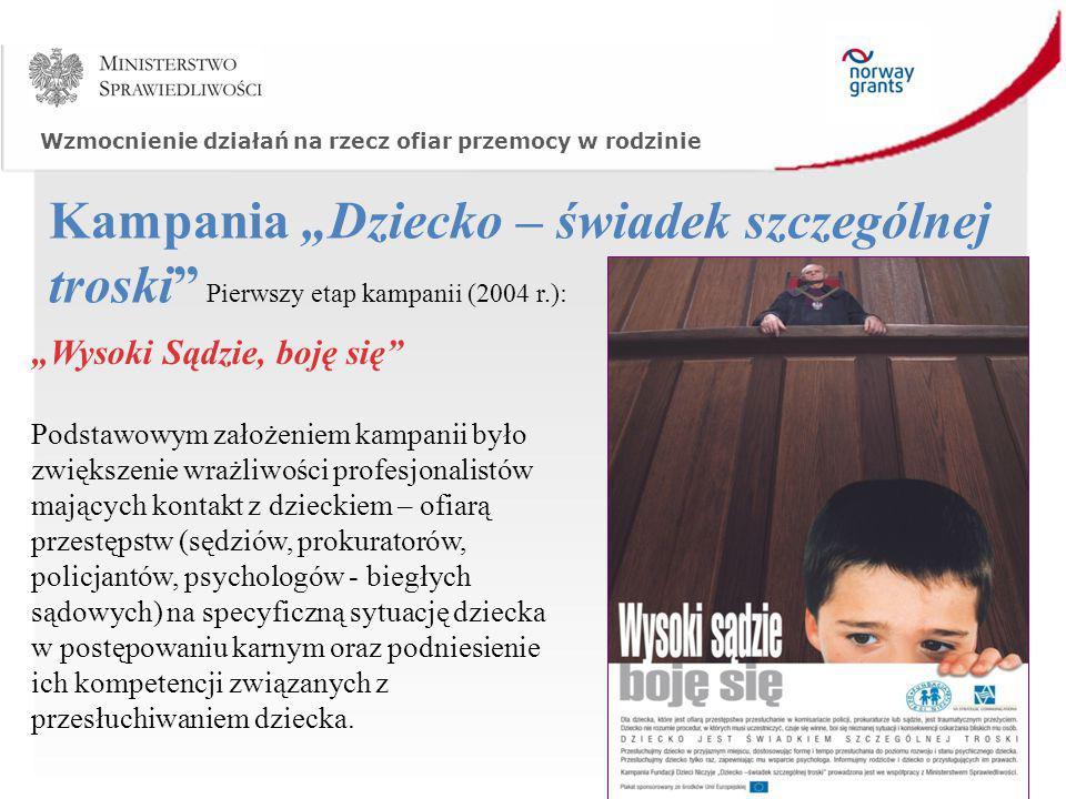"""Wzmocnienie działań na rzecz ofiar przemocy w rodzinie Kampania """"Dziecko – świadek szczególnej troski"""" Pierwszy etap kampanii (2004 r.): """"Wysoki Sądzi"""