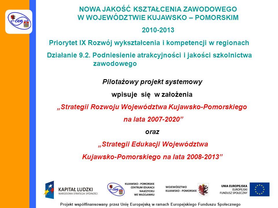 Projekt współfinansowany przez Unię Europejską w ramach Europejskiego Funduszu Społecznego NOWA JAKOŚĆ KSZTAŁCENIA ZAWODOWEGO W WOJEWÓDZTWIE KUJAWSKO – POMORSKIM 2010-2013 Priorytet IX Rozwój wykształcenia i kompetencji w regionach Działanie 9.2.