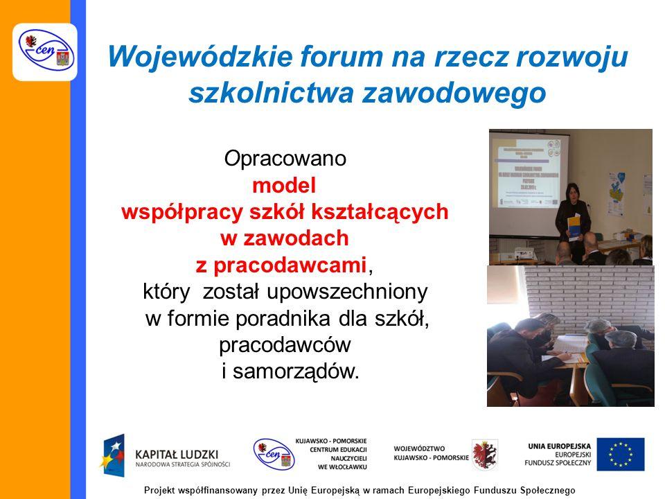 Projekt współfinansowany przez Unię Europejską w ramach Europejskiego Funduszu Społecznego Wojewódzkie forum na rzecz rozwoju szkolnictwa zawodowego Opracowano model współpracy szkół kształcących w zawodach z pracodawcami, który został upowszechniony w formie poradnika dla szkół, pracodawców i samorządów.