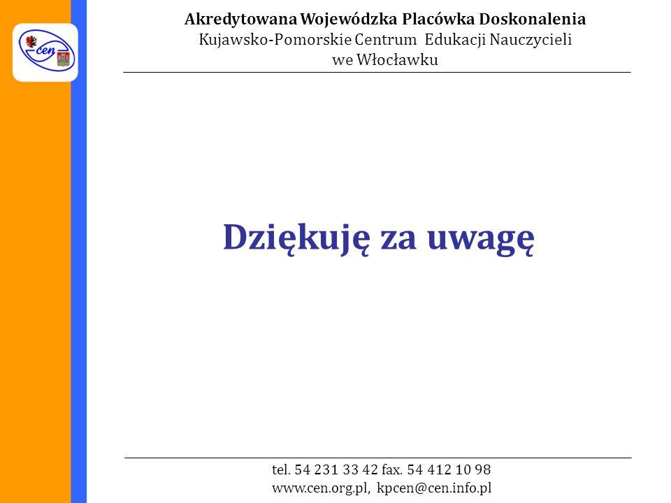 Akredytowana Wojewódzka Placówka Doskonalenia Kujawsko-Pomorskie Centrum Edukacji Nauczycieli we Włocławku tel.