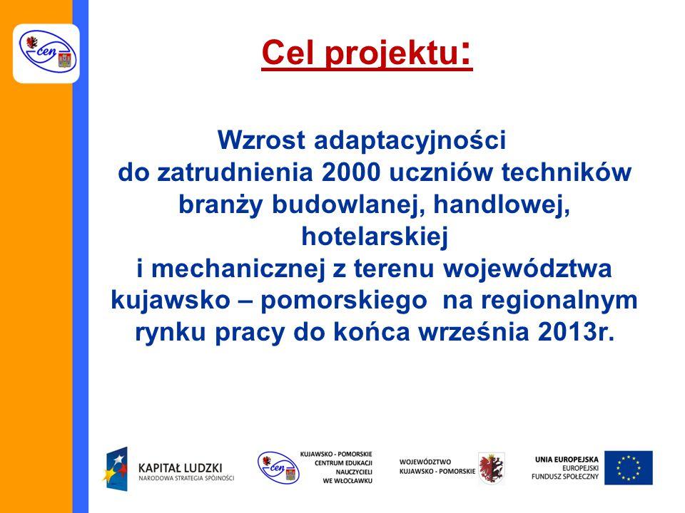 Cel projektu : Wzrost adaptacyjności do zatrudnienia 2000 uczniów techników branży budowlanej, handlowej, hotelarskiej i mechanicznej z terenu województwa kujawsko – pomorskiego na regionalnym rynku pracy do końca września 2013r.