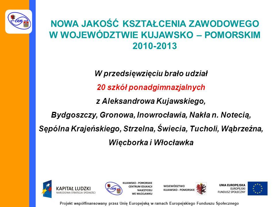 Projekt współfinansowany przez Unię Europejską w ramach Europejskiego Funduszu Społecznego NOWA JAKOŚĆ KSZTAŁCENIA ZAWODOWEGO W WOJEWÓDZTWIE KUJAWSKO – POMORSKIM 2010-2013 W przedsięwzięciu brało udział 20 szkół ponadgimnazjalnych z Aleksandrowa Kujawskiego, Bydgoszczy, Gronowa, Inowrocławia, Nakła n.