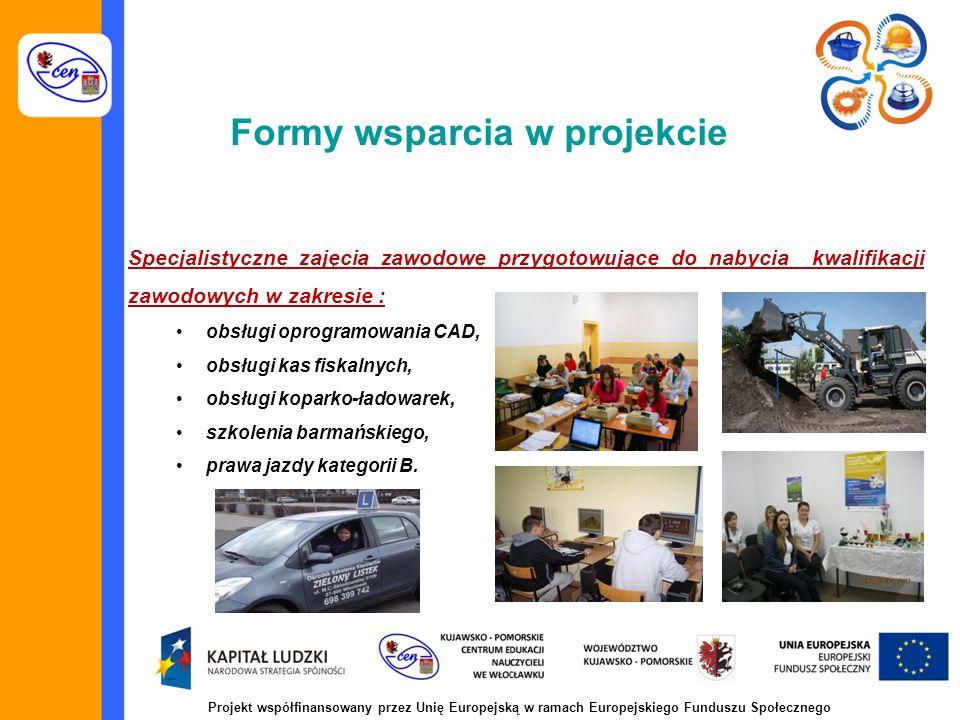 Formy wsparcia w projekcie Specjalistyczne zajęcia zawodowe przygotowujące do nabycia kwalifikacji zawodowych w zakresie : obsługi oprogramowania CAD, obsługi kas fiskalnych, obsługi koparko-ładowarek, szkolenia barmańskiego, prawa jazdy kategorii B.