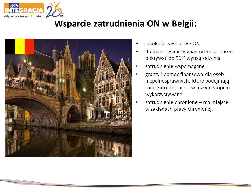Wsparcie zatrudnienia ON w Belgii: szkolenia zawodowe ON dofinansowanie wynagrodzenia –może pokrywać do 50% wynagrodzenia zatrudnienie wspomagane granty i pomoc finansowa dla osób niepełnosprawnych, które podejmują samozatrudnienie – w małym stopniu wykorzystywane zatrudnienie chronione – ma miejsce w zakładach pracy chronionej.