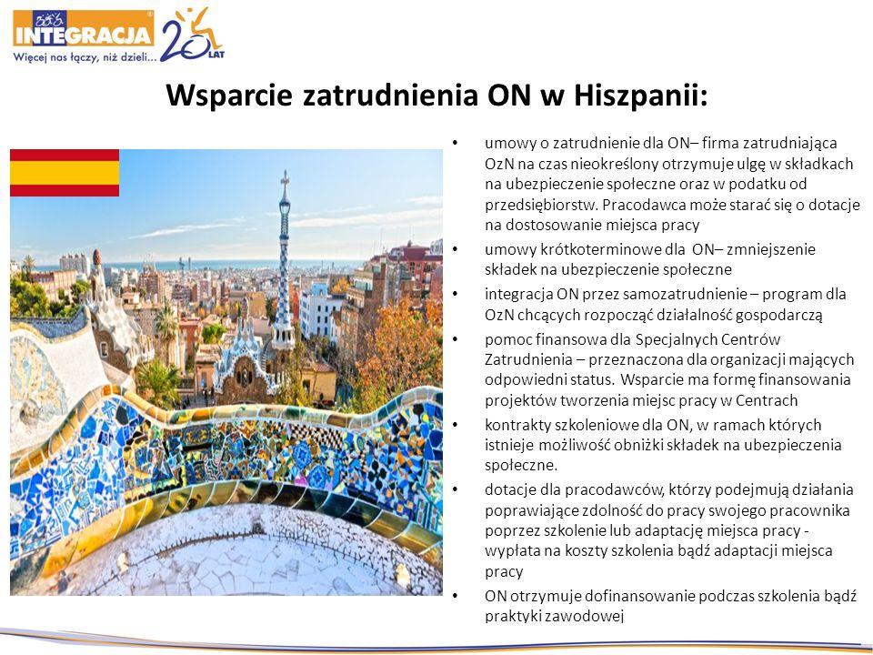 Wsparcie zatrudnienia ON w Hiszpanii: umowy o zatrudnienie dla ON– firma zatrudniająca OzN na czas nieokreślony otrzymuje ulgę w składkach na ubezpiec