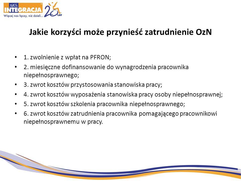 Jakie korzyści może przynieść zatrudnienie OzN 1. zwolnienie z wpłat na PFRON; 2. miesięczne dofinansowanie do wynagrodzenia pracownika niepełnosprawn