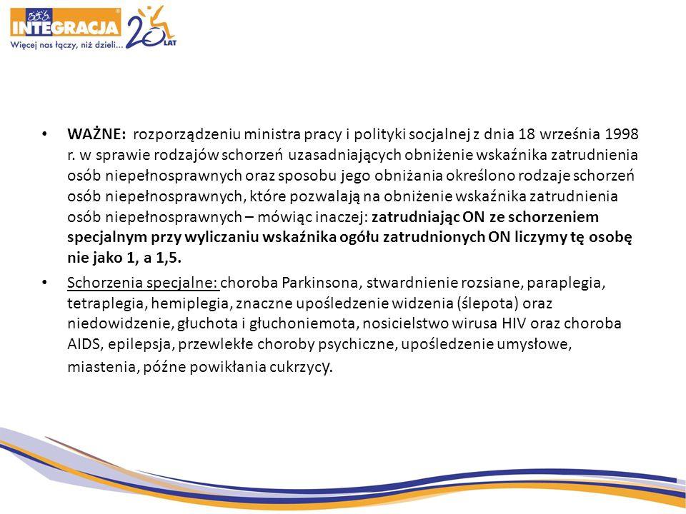 WAŻNE: rozporządzeniu ministra pracy i polityki socjalnej z dnia 18 września 1998 r.