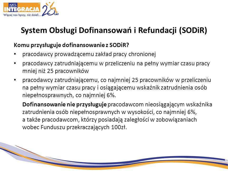 System Obsługi Dofinansowań i Refundacji (SODiR) Komu przysługuje dofinansowanie z SODiR? pracodawcy prowadzącemu zakład pracy chronionej pracodawcy z