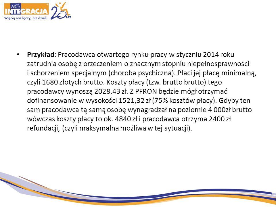 Przykład: Pracodawca otwartego rynku pracy w styczniu 2014 roku zatrudnia osobę z orzeczeniem o znacznym stopniu niepełnosprawności i schorzeniem specjalnym (choroba psychiczna).