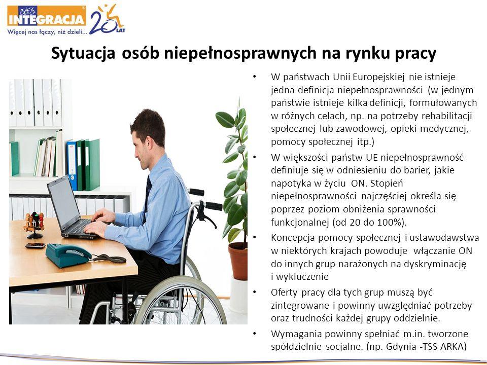Sytuacja osób niepełnosprawnych na rynku pracy W państwach Unii Europejskiej nie istnieje jedna definicja niepełnosprawności (w jednym państwie istnieje kilka definicji, formułowanych w różnych celach, np.