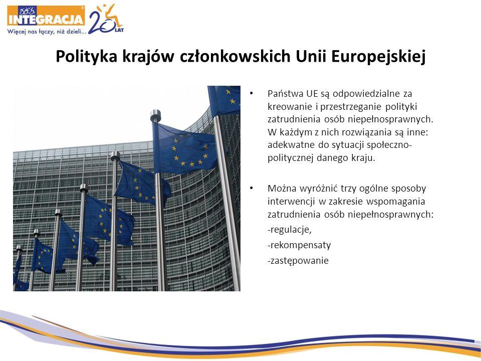 Polityka krajów członkowskich Unii Europejskiej Państwa UE są odpowiedzialne za kreowanie i przestrzeganie polityki zatrudnienia osób niepełnosprawnyc