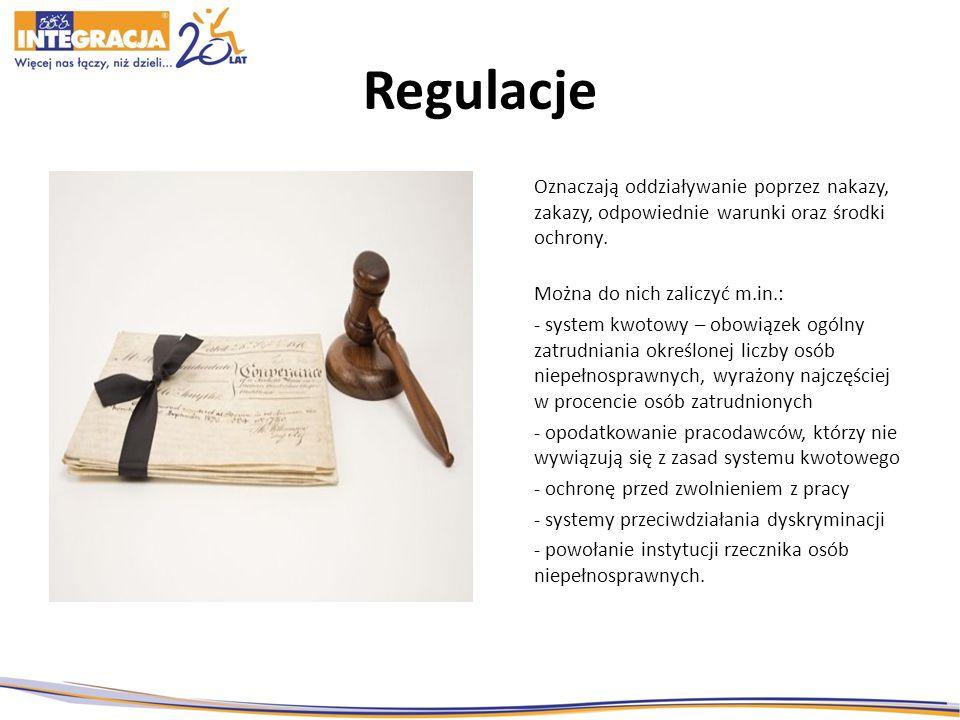 Regulacje Oznaczają oddziaływanie poprzez nakazy, zakazy, odpowiednie warunki oraz środki ochrony. Można do nich zaliczyć m.in.: - system kwotowy – ob