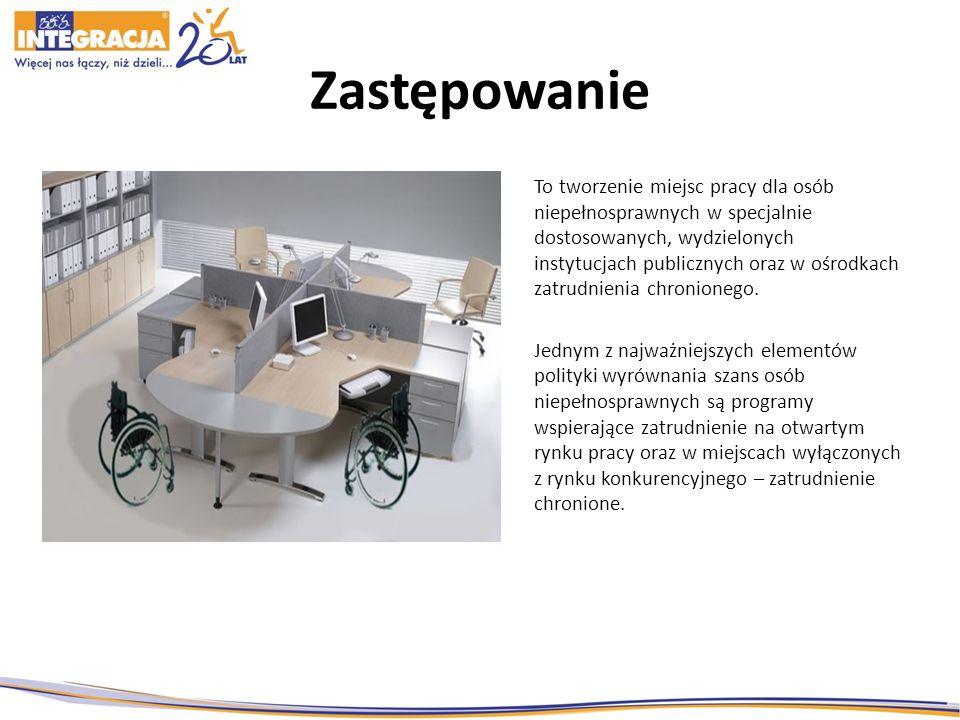 Zastępowanie To tworzenie miejsc pracy dla osób niepełnosprawnych w specjalnie dostosowanych, wydzielonych instytucjach publicznych oraz w ośrodkach zatrudnienia chronionego.