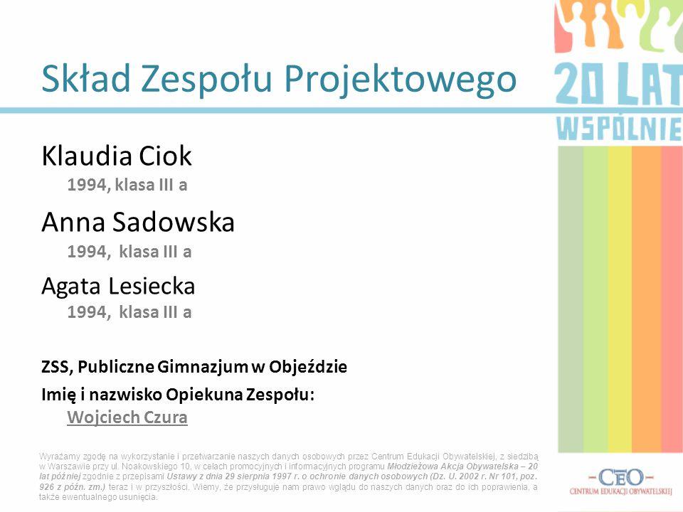 Klaudia Ciok 1994, klasa III a Anna Sadowska 1994, klasa III a Agata Lesiecka 1994, klasa III a ZSS, Publiczne Gimnazjum w Objeździe Imię i nazwisko O