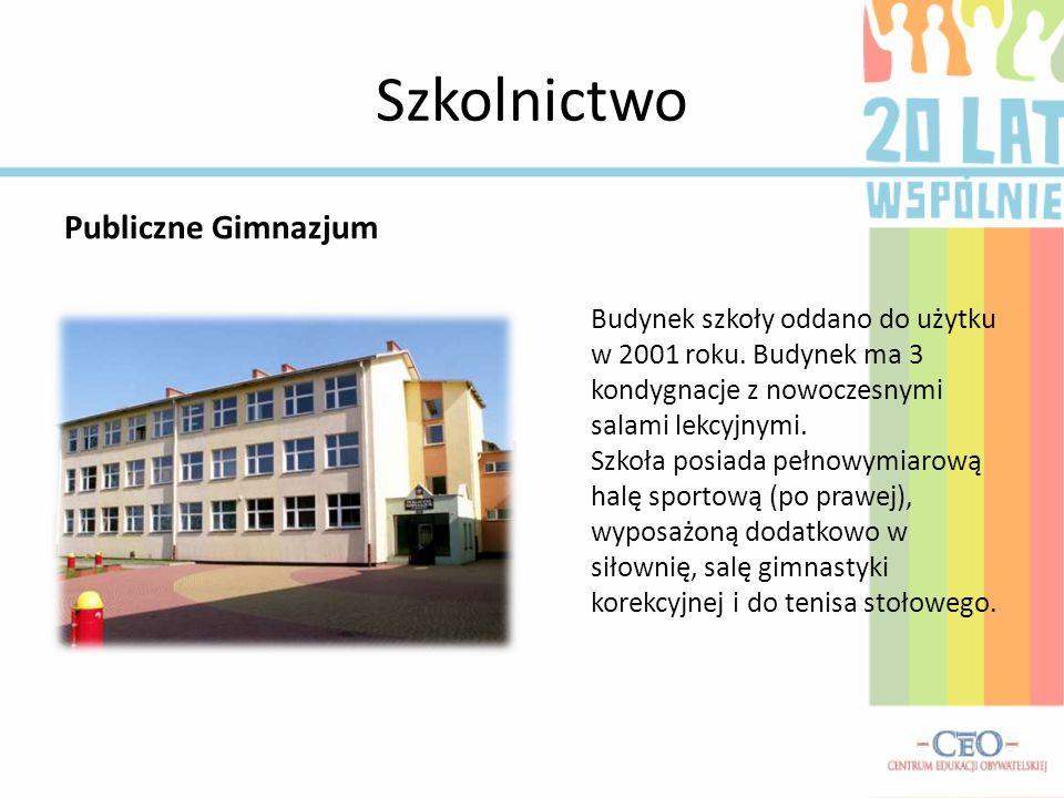 Szkolnictwo Publiczne Gimnazjum Budynek szkoły oddano do użytku w 2001 roku. Budynek ma 3 kondygnacje z nowoczesnymi salami lekcyjnymi. Szkoła posiada