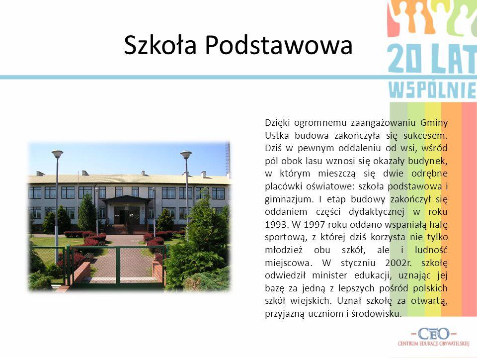 Szkoła Podstawowa Dzięki ogromnemu zaangażowaniu Gminy Ustka budowa zakończyła się sukcesem. Dziś w pewnym oddaleniu od wsi, wśród pól obok lasu wznos
