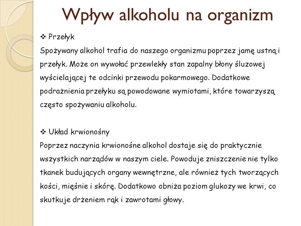 Wpływ alkoholu na organizm  Przełyk Spożywany alkohol trafia do naszego organizmu poprzez jamę ustną i przełyk. Może on wywołać przewlekły stan zapal
