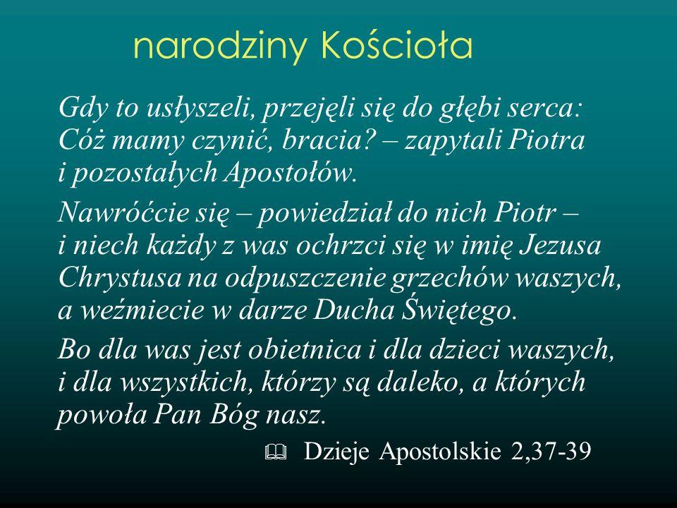Gdy to usłyszeli, przejęli się do głębi serca: Cóż mamy czynić, bracia? – zapytali Piotra i pozostałych Apostołów. Nawróćcie się – powiedział do nich