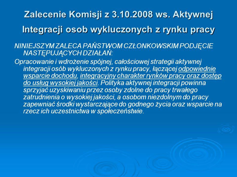 Zalecenie Komisji z 3.10.2008 ws. Aktywnej Integracji osob wykluczonych z rynku pracy NINIEJSZYM ZALECA PAŃSTWOM CZŁONKOWSKIM PODJĘCIE NASTĘPUJĄCYCH D