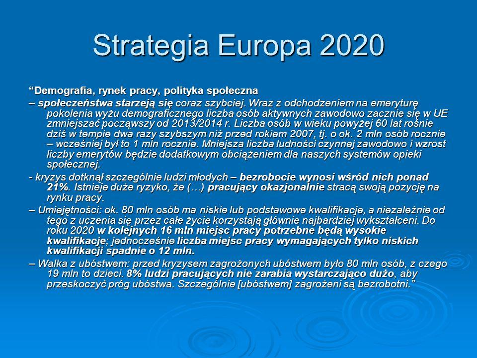 """Strategia Europa 2020 """"Demografia, rynek pracy, polityka społeczna – społeczeństwa starzeją się coraz szybciej. Wraz z odchodzeniem na emeryturę pokol"""