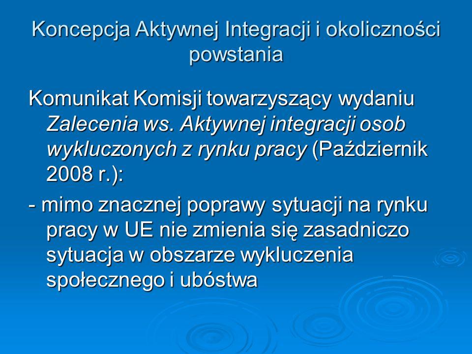 Koncepcja Aktywnej Integracji i okoliczności powstania Komunikat Komisji towarzyszący wydaniu Zalecenia ws. Aktywnej integracji osob wykluczonych z ry