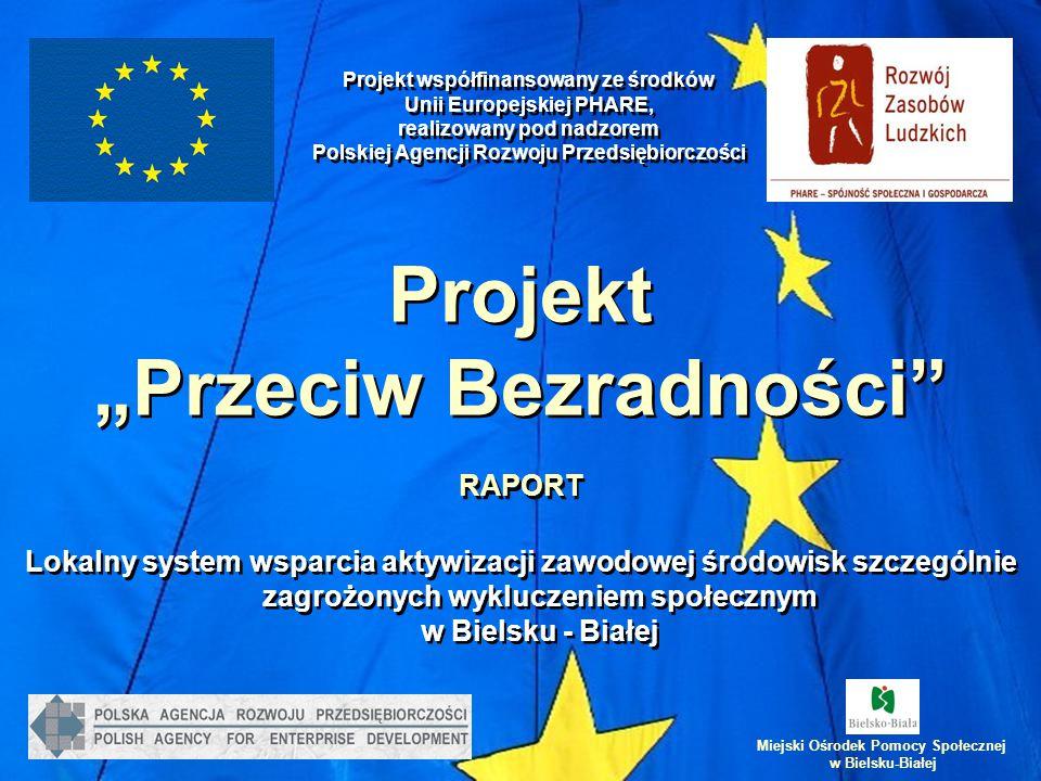 """Projekt """"Przeciw Bezradności RAPORT Lokalny system wsparcia aktywizacji zawodowej środowisk szczególnie zagrożonych wykluczeniem społecznym w Bielsku - Białej Projekt współfinansowany ze środków Unii Europejskiej PHARE, realizowany pod nadzorem Polskiej Agencji Rozwoju Przedsiębiorczości Miejski Ośrodek Pomocy Społecznej w Bielsku-Białej"""