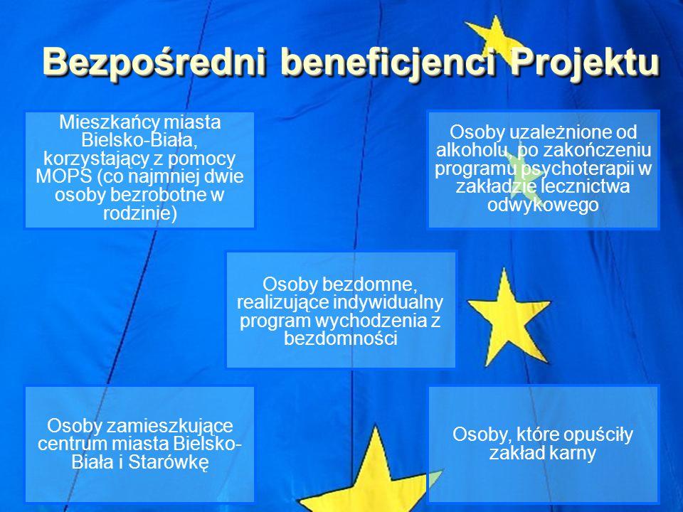 Bezpośredni beneficjenci Projektu Osoby zamieszkujące centrum miasta Bielsko- Biała i Starówkę Mieszkańcy miasta Bielsko-Biała, korzystający z pomocy MOPS (co najmniej dwie osoby bezrobotne w rodzinie) Osoby bezdomne, realizujące indywidualny program wychodzenia z bezdomności Osoby, które opuściły zakład karny Osoby uzależnione od alkoholu, po zakończeniu programu psychoterapii w zakładzie lecznictwa odwykowego