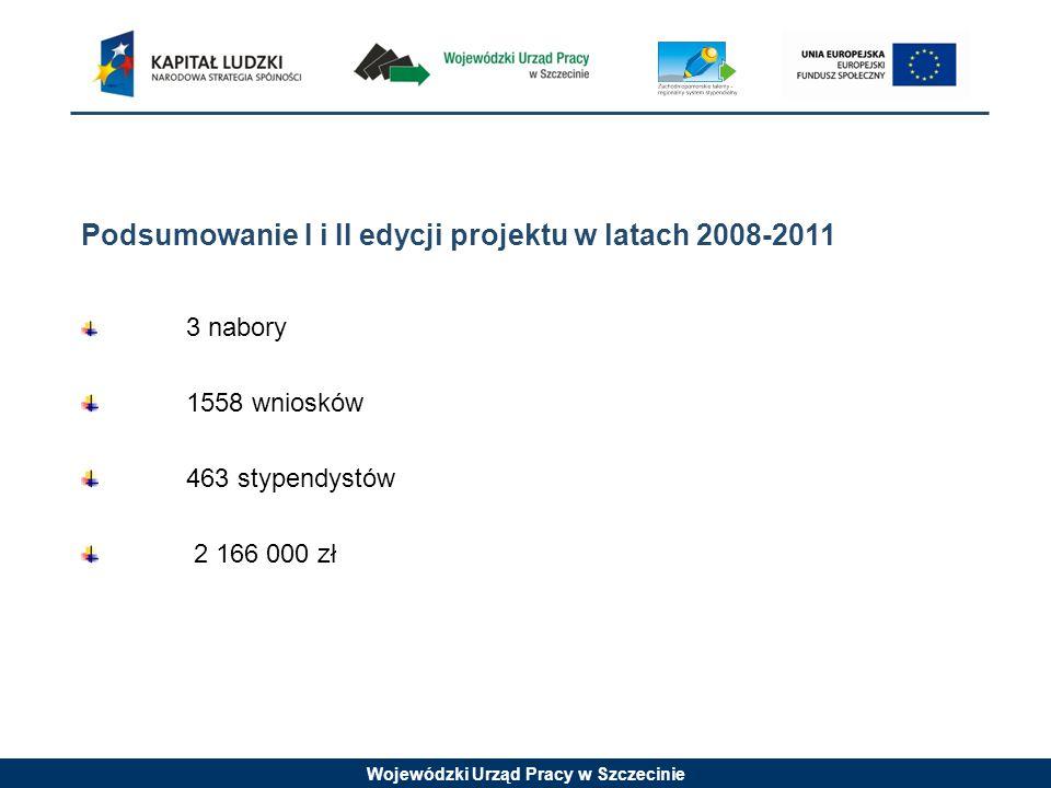 Wojewódzki Urząd Pracy w Szczecinie Podsumowanie I i II edycji projektu w latach 2008-2011 3 nabory 1558 wniosków 463 stypendystów 2 166 000 zł