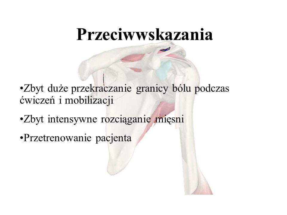 - - Przeciwwskazania Zbyt duże przekraczanie granicy bólu podczas ćwiczeń i mobilizacji Zbyt intensywne rozciąganie mięsni Przetrenowanie pacjenta