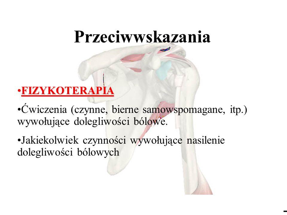 - Przeciwwskazania FIZYKOTERAPIAFIZYKOTERAPIA Ćwiczenia (czynne, bierne samowspomagane, itp.) wywołujące dolegliwości bólowe.