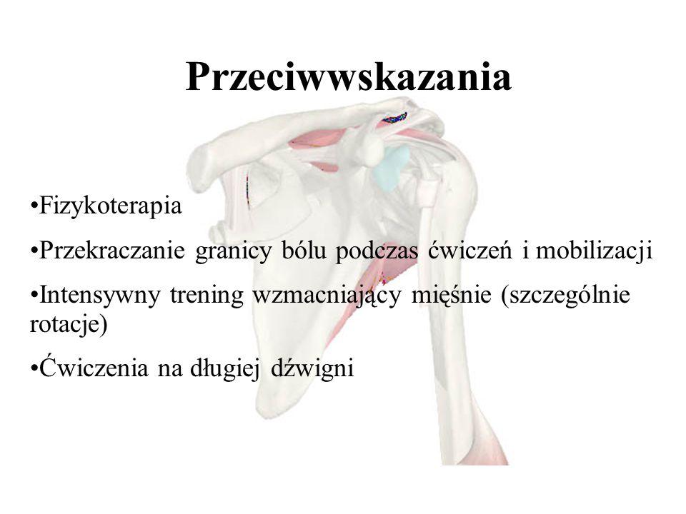 - - Przeciwwskazania Fizykoterapia Przekraczanie granicy bólu podczas ćwiczeń i mobilizacji Intensywny trening wzmacniający mięśnie (szczególnie rotacje) Ćwiczenia na długiej dźwigni