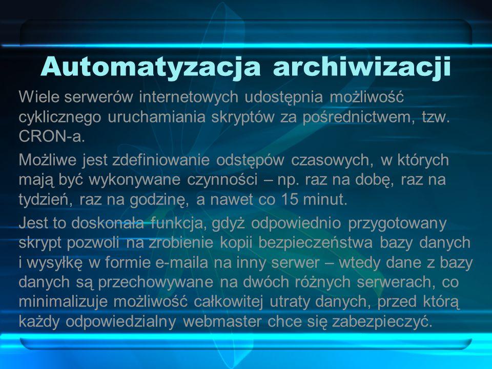 """Archiwizacja w phpMyAdmin Aby dokonać archiwizacji z wykorzystaniem aplikacji phpMyAdmin, należy wybrać z dostępnych opcji """"Eksport ."""