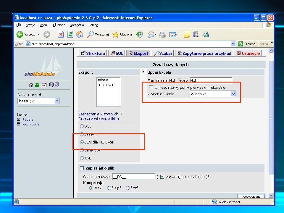 SQL, arkusz kalkulacyjny.