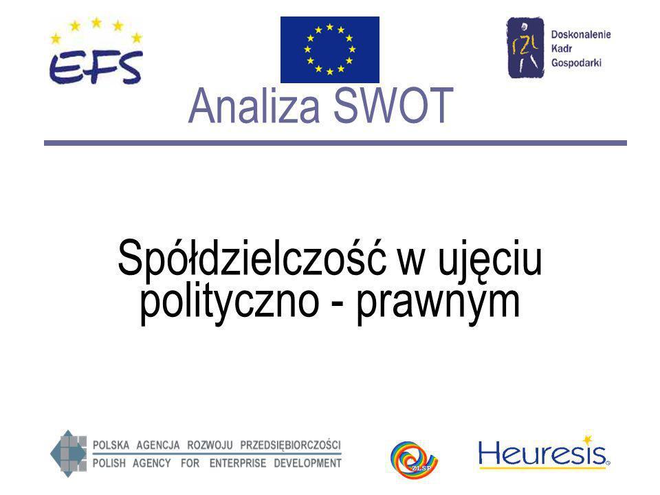 Analiza SWOT Spółdzielczość w ujęciu polityczno - prawnym
