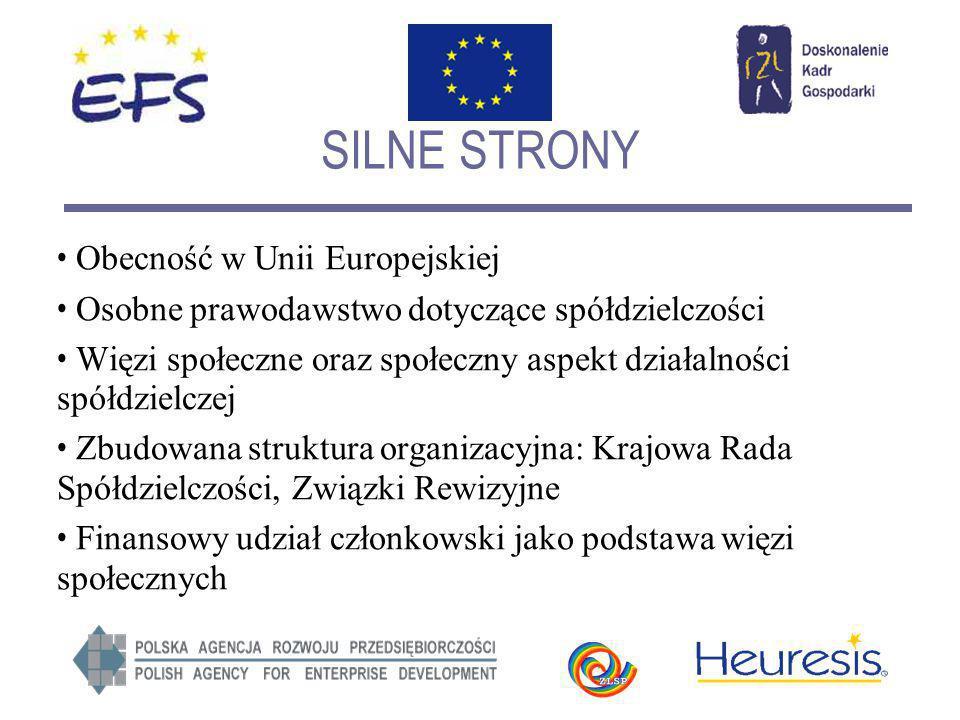 SILNE STRONY Obecność w Unii Europejskiej Osobne prawodawstwo dotyczące spółdzielczości Więzi społeczne oraz społeczny aspekt działalności spółdzielcz
