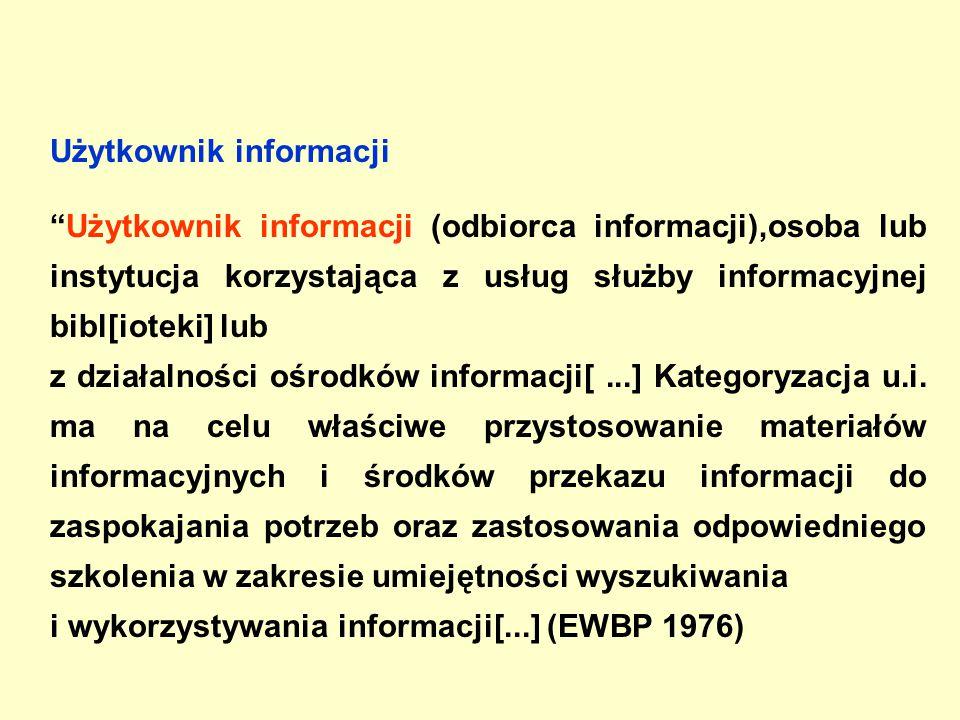 Użytkownik informacji Użytkownik informacji (odbiorca informacji),osoba lub instytucja korzystająca z usług służby informacyjnej bibl[ioteki] lub z działalności ośrodków informacji[...] Kategoryzacja u.i.